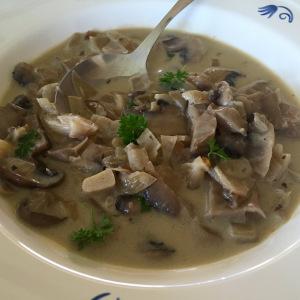Houbová polévka z hlívy ústřičné a žampionů portobello
